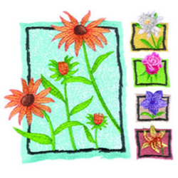 Perennials embroidery design