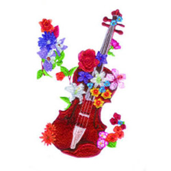 Floral Violin embroidery design