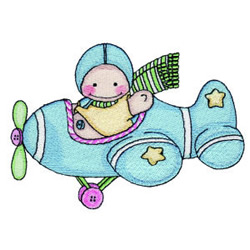 Baby in Airplane embroidery design