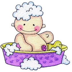 Baby in Bathtub embroidery design