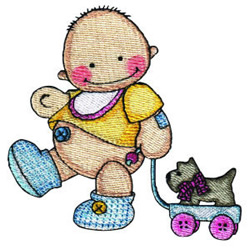 Baby with Pulltoy embroidery design