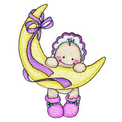 Baby on the Moon embroidery design