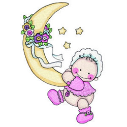 Baby with the Moon and Stars embroidery design