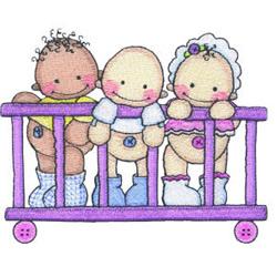 Babies in Playpen embroidery design