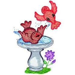 Birdbath embroidery design