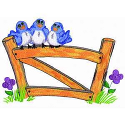 Birds On Fence embroidery design