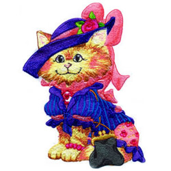 Blue Hat Kitty embroidery design
