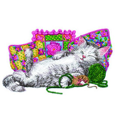 Napping Kitty embroidery design