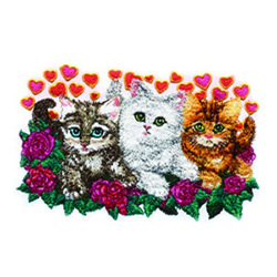 Heart and Flowers Kitties embroidery design