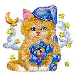 Bedtime Kitty embroidery design