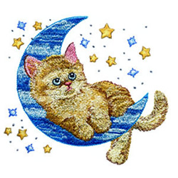 Kitty on the Moon embroidery design