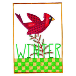 Winter with Cardinal embroidery design