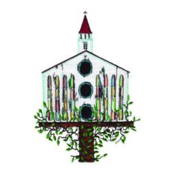 Birdhouse Church embroidery design