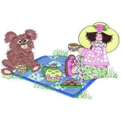 Teatime embroidery design