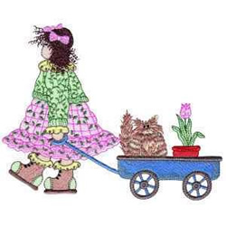 Girl With Wagon embroidery design
