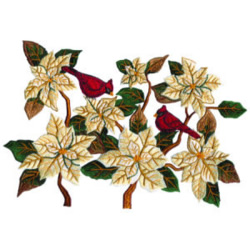 Cardinals and Poinsettia embroidery design