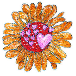 Heart and Flower embroidery design