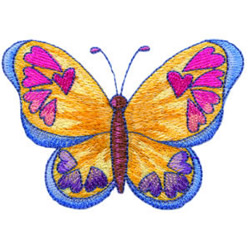 Hearts and Butterfly embroidery design
