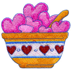 Bowlful of Hearts embroidery design