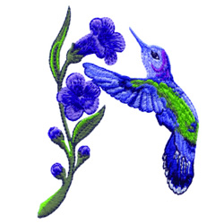 Hummingbird with Flower embroidery design