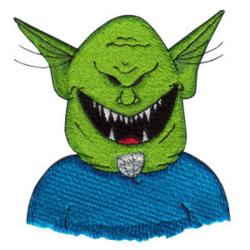 Green Head Alien embroidery design