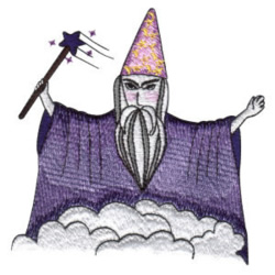 Wizard with Wand embroidery design