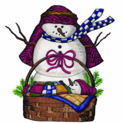 Snowman and Baby embroidery design