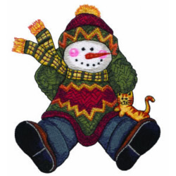 Holiday Snowman embroidery design