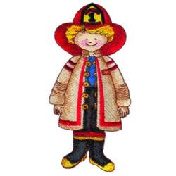 Boy in Firefighters Gear embroidery design
