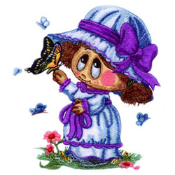 Little Miss and Butterfly embroidery design