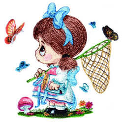 Catching Butterflies embroidery design