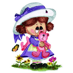 Little Miss and Teddy embroidery design