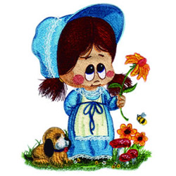 Little Miss with Flower embroidery design