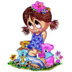 Little Miss with Teddies embroidery design