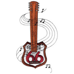 Route 66 Sign Guitar embroidery design