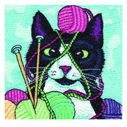 Knitting Kitty embroidery design