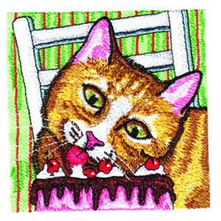 Kitty Likes Cake embroidery design