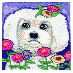 Puppy in Flowers embroidery design