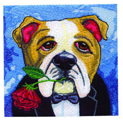 Leading Man Bulldog embroidery design