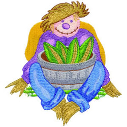 Scarecrow with Corn embroidery design