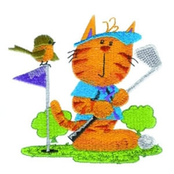 Golf Kitty embroidery design
