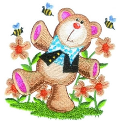Bear & Bees embroidery design