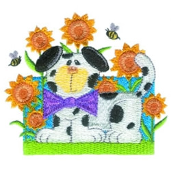 Puppy & Bees embroidery design