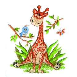 Sitting Giraffe embroidery design