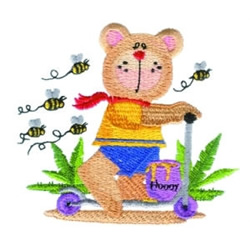 Scooter Bear embroidery design