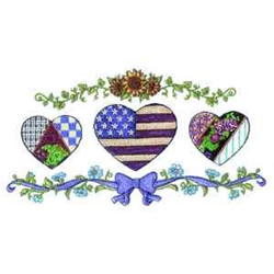 Americana Floral Hearts embroidery design