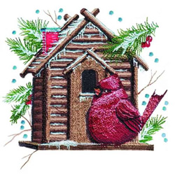 Christmas Birdhouse embroidery design