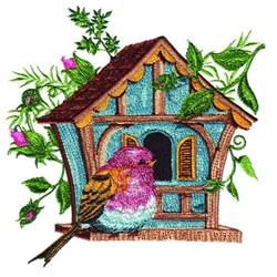Floral Birdhouse embroidery design