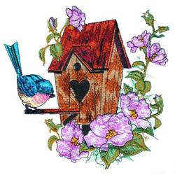 Summer Flowers & Birdhouse embroidery design