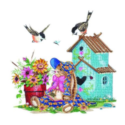 Country Flowerpot & Birdhouse embroidery design